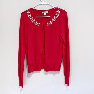 4/$25 Merona  red rhinestone button up cardigan